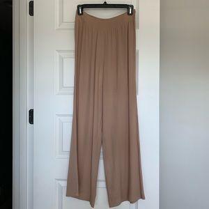 Tobi Tan Flowy Pants w/ Elastic Waist, Small